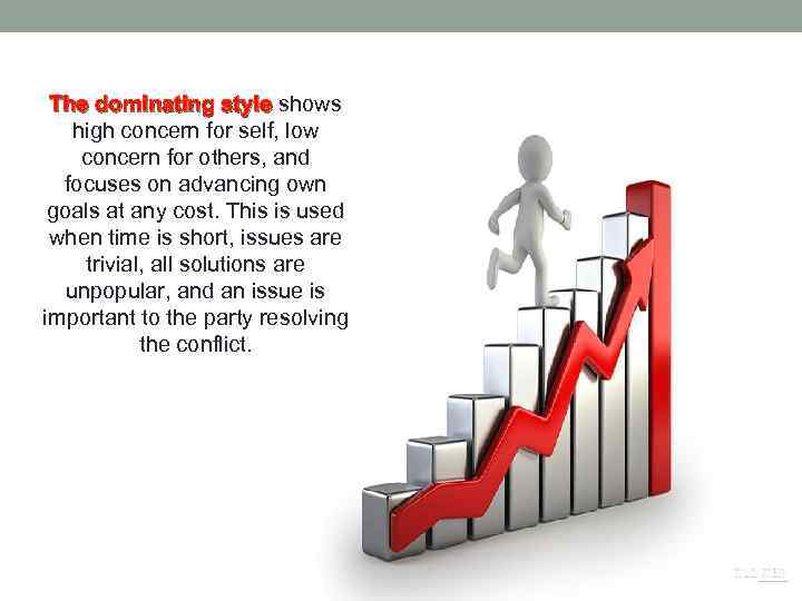 The dominating style shows The dominating style high concern for self, low concern for