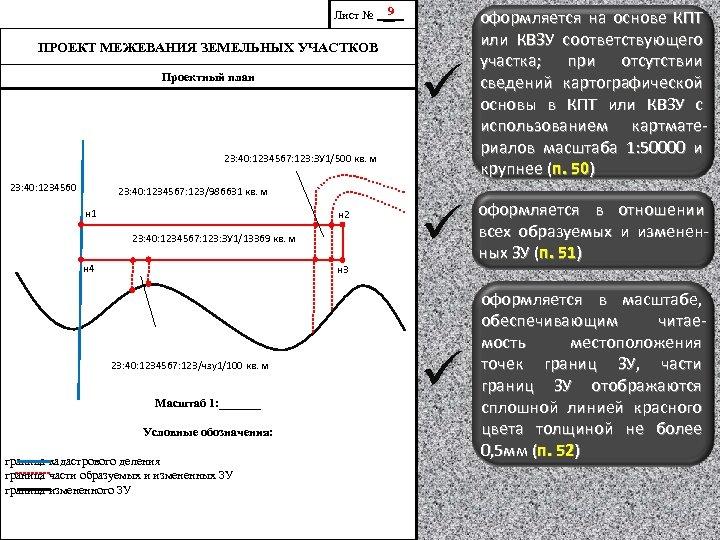 9 Лист № __ ü оформляется на основе КПТ или КВЗУ соответствующего участка; при