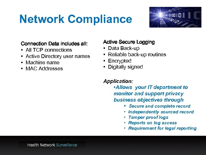 Network Compliance Connection Data includes all: • All TCP connections • Active Directory user