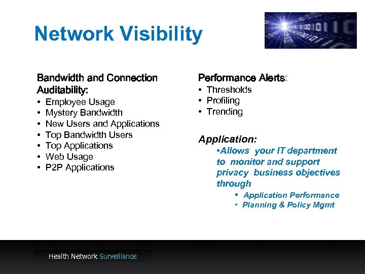Network Visibility Bandwidth and Connection Auditability: • • Employee Usage Mystery Bandwidth New Users