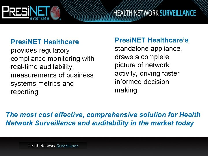 Presi. NET Healthcare provides regulatory compliance monitoring with real-time auditability, measurements of business systems