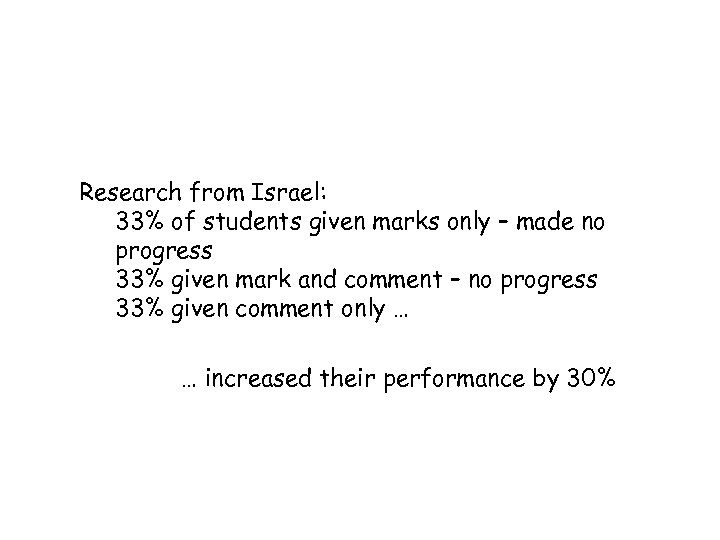 Research from Israel: 33% of students given marks only – made no progress 33%