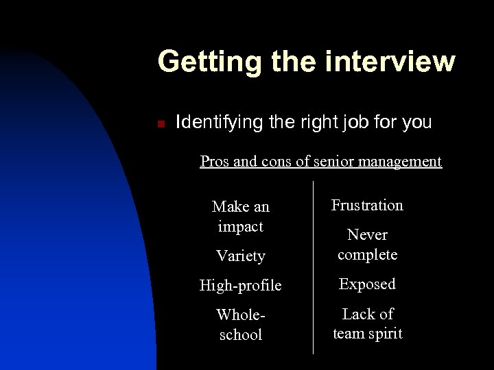 Getting the interview n Identifying the right job for you Pros and cons of