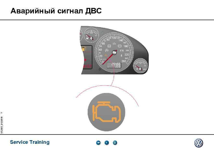 05. 2005, 2/12/2018 7 Аварийный сигнал ДВС Service Training