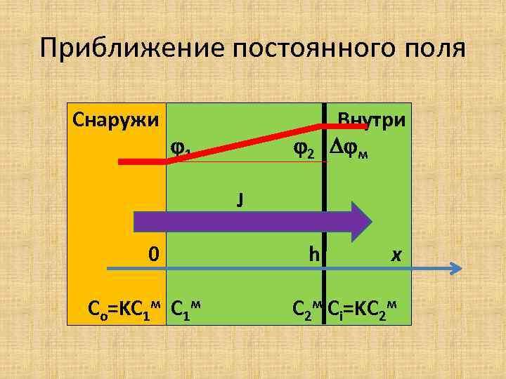 Приближение постоянного поля Снаружи 2 1 Внутри м h x J 0 Co=KC 1