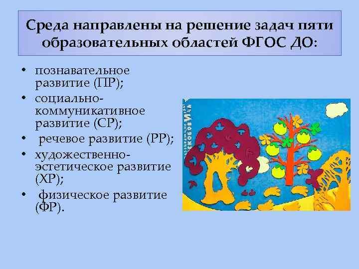 Среда направлены на решение задач пяти образовательных областей ФГОС ДО: • познавательное развитие (ПР);
