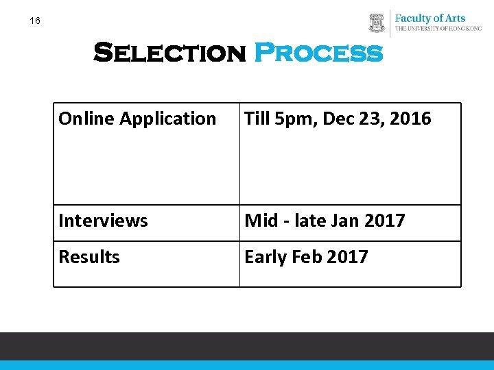 16 Selection Process Online Application Till 5 pm, Dec 23, 2016 Interviews Mid -