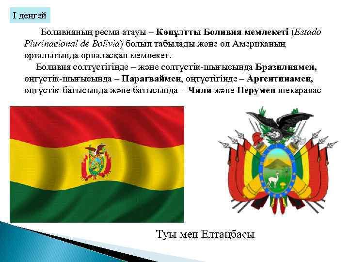 І. деңгей Боливияның ресми атауы – Көпұлтты Боливия мемлекеті (Estado Plurinacional de Bolivia) болып