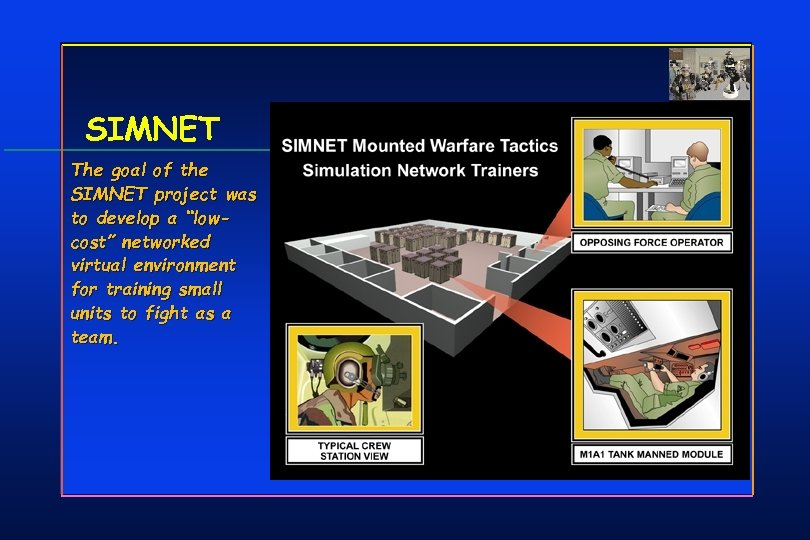 "SIMNET The goal of the SIMNET project was to develop a ""lowcost"" networked virtual"