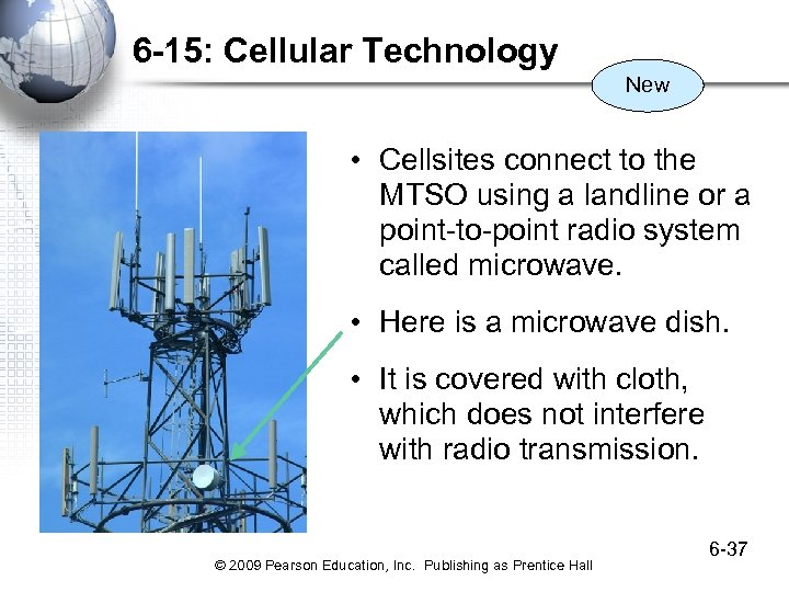 6 -15: Cellular Technology New • Cellsites connect to the MTSO using a landline
