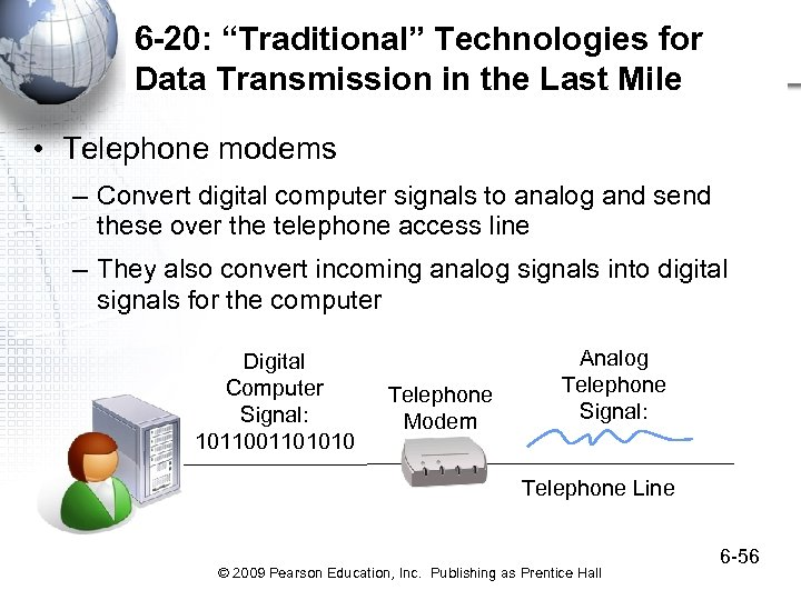 """6 -20: """"Traditional"""" Technologies for Data Transmission in the Last Mile • Telephone modems"""
