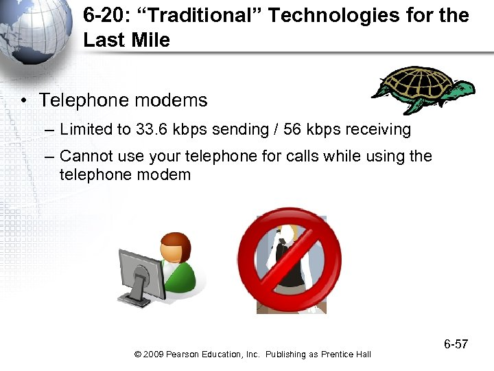 """6 -20: """"Traditional"""" Technologies for the Last Mile • Telephone modems – Limited to"""