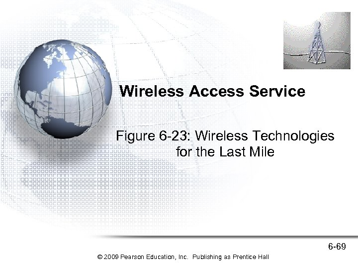 Wireless Access Service Figure 6 -23: Wireless Technologies for the Last Mile 6 -69