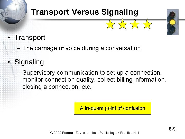 Transport Versus Signaling • Transport – The carriage of voice during a conversation •