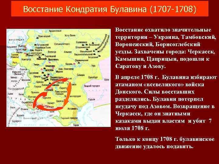 Восстание Кондратия Булавина (1707 -1708) Восстание охватило значительные территории – Украина, Тамбовский, Воронежский, Борисоглебский