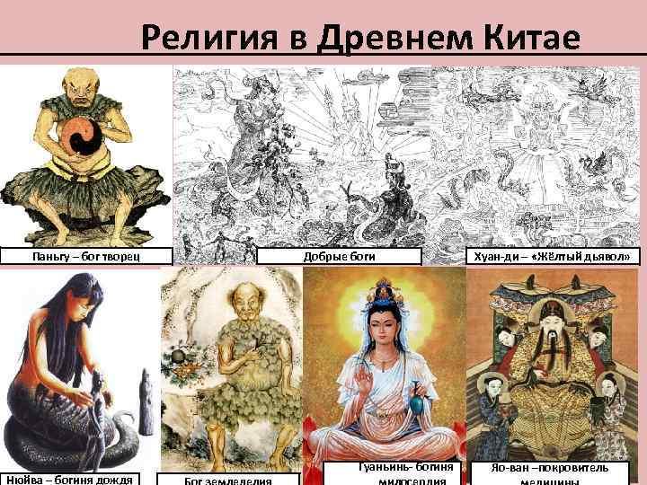 Религия в Древнем Китае Паньгу – бог творец Нюйва – богиня дождя Добрые боги