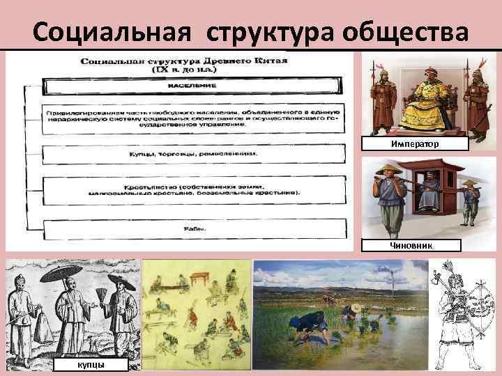 Социальная структура общества Император Чиновник купцы