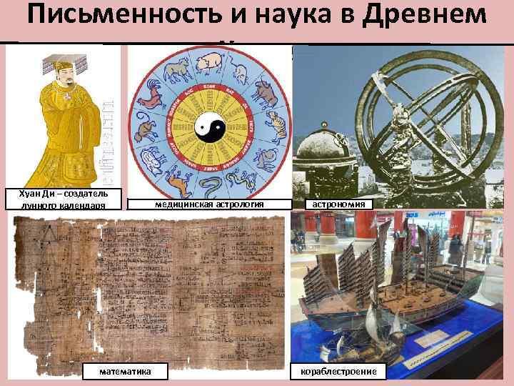 Письменность и наука в Древнем Китае Хуан Ди – создатель лунного календаря математика астрономия