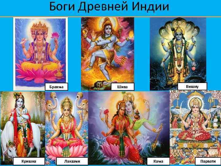 Боги Древней Индии Брахма Кришна Вишну Шива Лакшми Кама Парвати