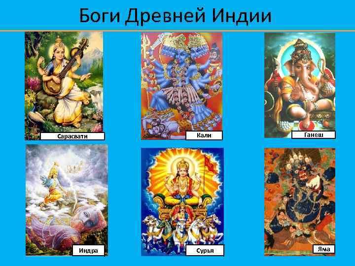 Боги Древней Индии Сарасвати Индра Кали Сурья Ганеш Яма