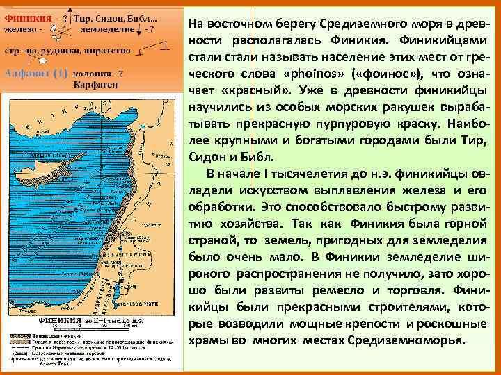 На восточном берегу Средиземного моря в древности располагалась Финикия. Финикийцами стали называть население этих