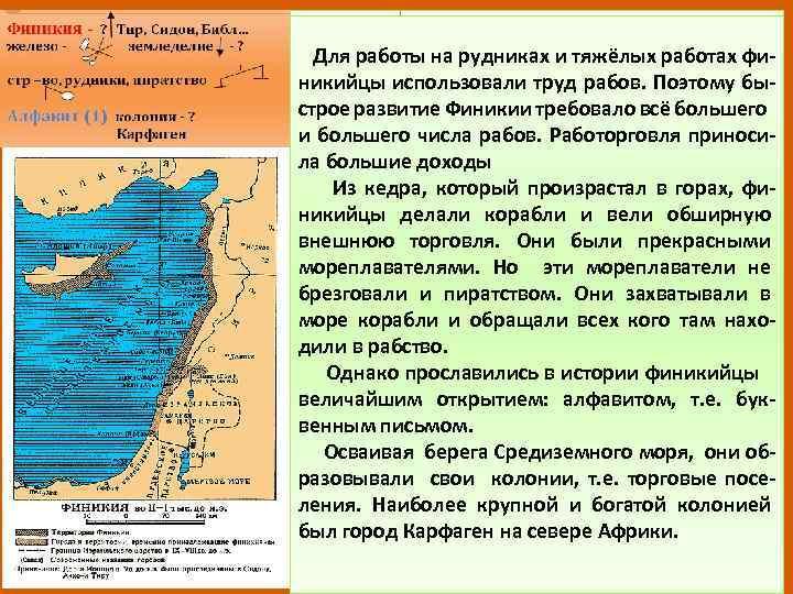 Для работы на рудниках и тяжёлых работах финикийцы использовали труд рабов. Поэтому быстрое развитие