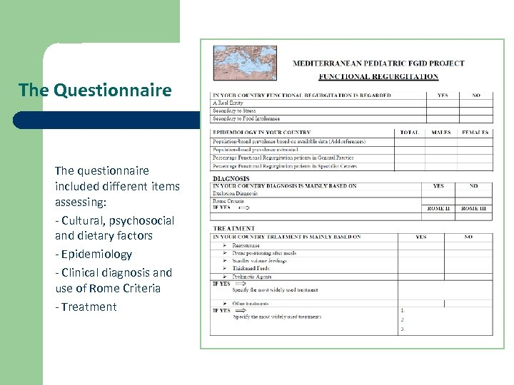 The Questionnaire The questionnaire included different items assessing: - Cultural, psychosocial and dietary factors