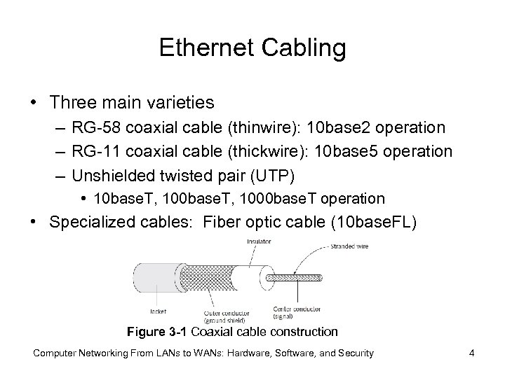 Ethernet Cabling • Three main varieties – RG-58 coaxial cable (thinwire): 10 base 2