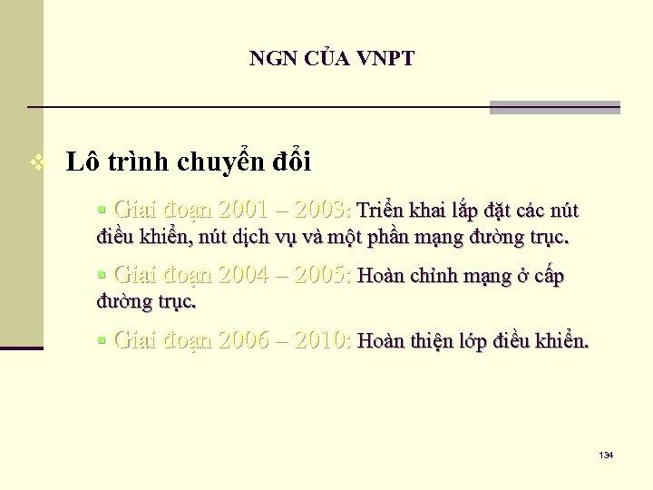 NGN CỦA VNPT v Lô trình chuyển đổi § Giai đoạn 2001 – 2003: