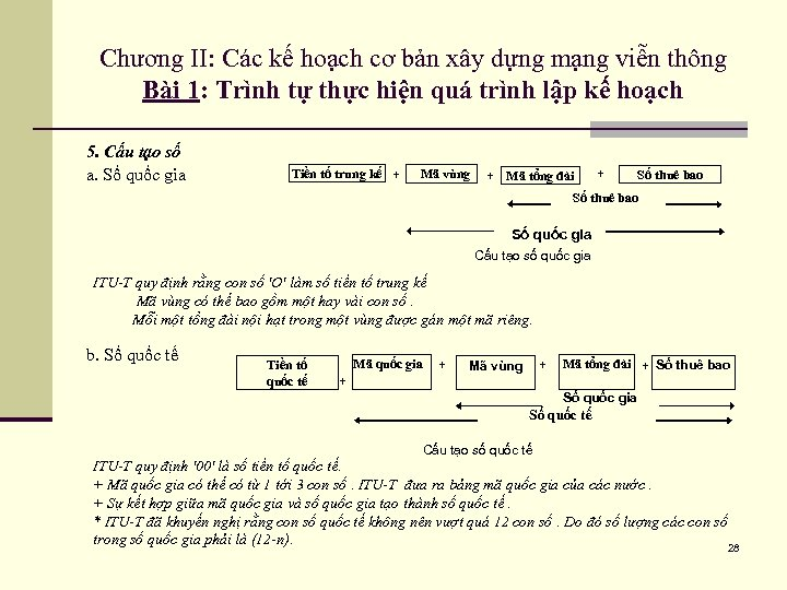 Chương II: Các kế hoạch cơ bản xây dựng mạng viễn thông Bài 1: