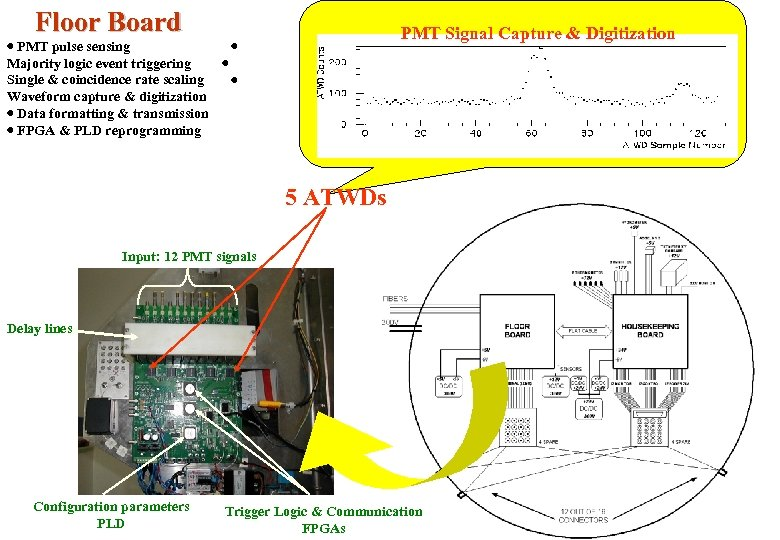 Floor Board PMT Signal Capture & Digitization PMT pulse sensing Majority logic event triggering