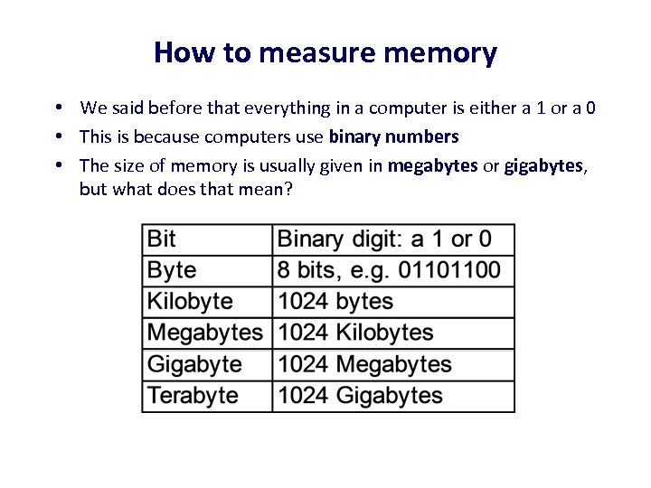 How to measure memory • We said before that everything in a computer is