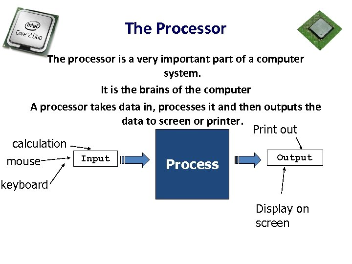 The Processor The processor is a very important part of a computer system. It
