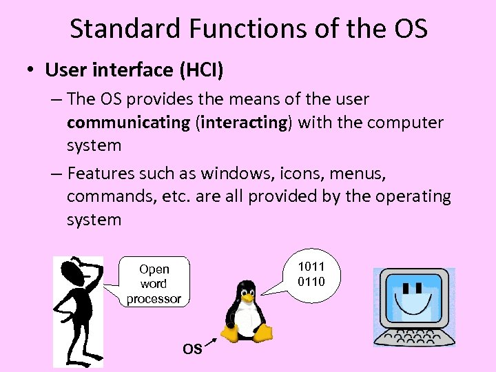 Standard Functions of the OS • User interface (HCI) – The OS provides the