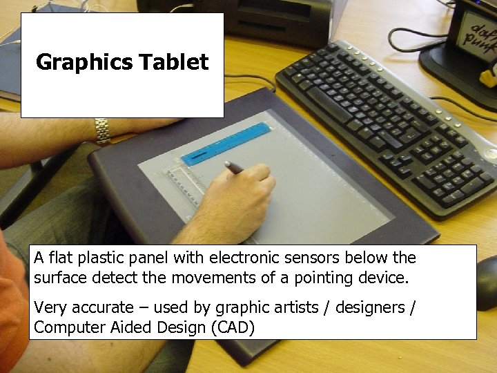 Graphics Tablet A flat plastic panel with electronic sensors below the surface detect the