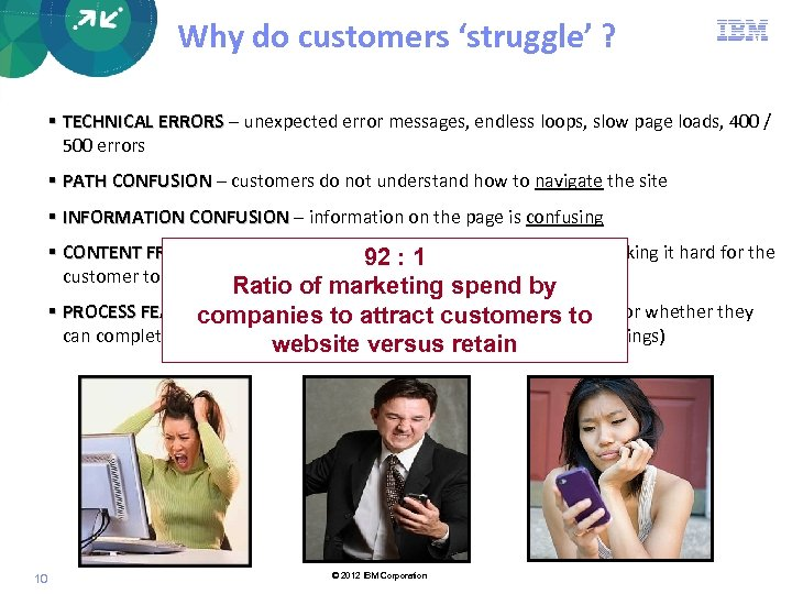 Why do customers 'struggle' ? TECHNICAL ERRORS – unexpected error messages, endless loops, slow
