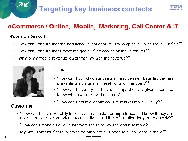 Targeting key business contacts e. Commerce / Online, Mobile, Marketing, Call Center & IT