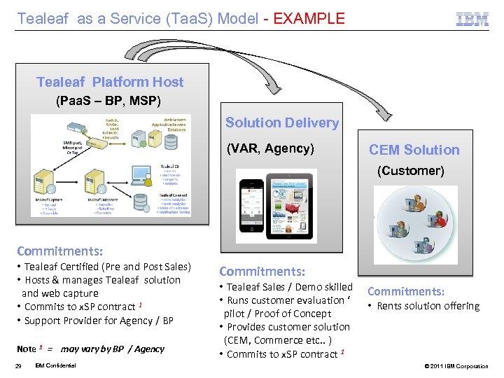 Tealeaf as a Service (Taa. S) Model - EXAMPLE Tealeaf Platform Host (Paa. S