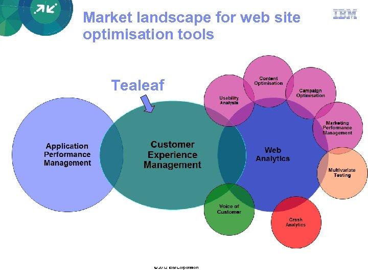 Market landscape for web site optimisation tools Tealeaf © 2012 IBM Corporation