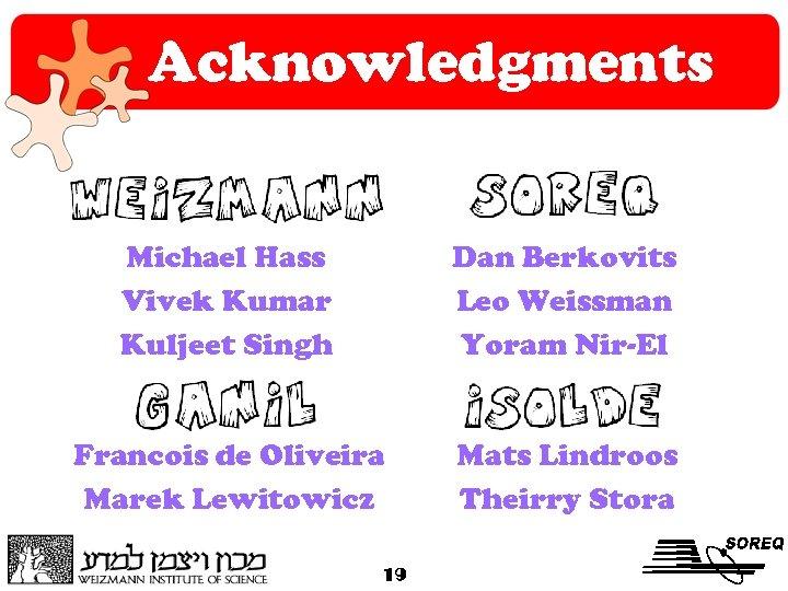 Acknowledgments Michael Hass Vivek Kumar Kuljeet Singh Dan Berkovits Leo Weissman Yoram Nir-El Francois