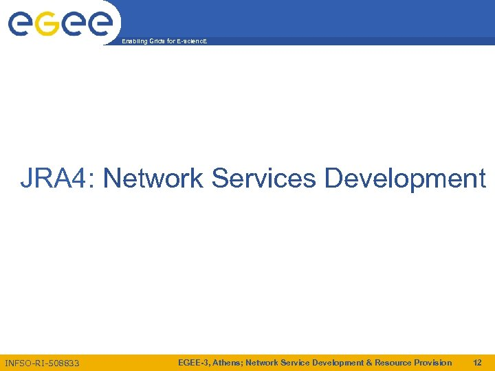 Enabling Grids for E-scienc. E JRA 4: Network Services Development INFSO-RI-508833 EGEE-3, Athens; Network