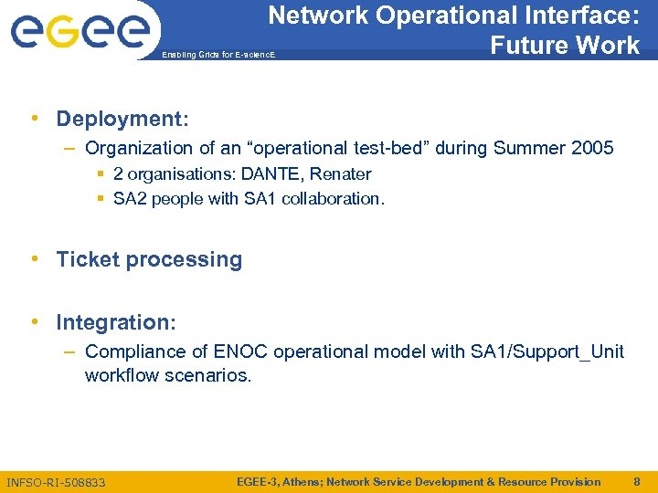 Network Operational Interface: Future Work Enabling Grids for E-scienc. E • Deployment: – Organization
