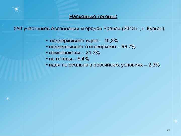 Насколько готовы: 350 участников Ассоциации «городов Урала» (2013 г. , г. Курган) • поддерживают