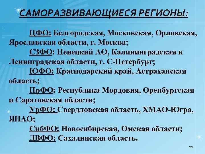 САМОРАЗВИВАЮЩИЕСЯ РЕГИОНЫ: ЦФО: Белгородская, Московская, Орловская, Ярославская области, г. Москва; СЗФО: Ненецкий АО, Калининградская