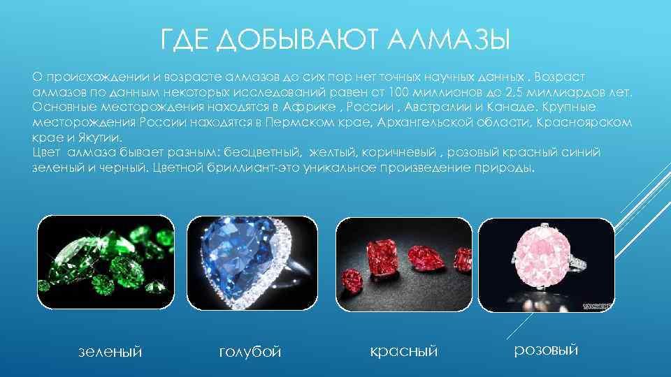 ГДЕ ДОБЫВАЮТ АЛМАЗЫ О происхождении и возрасте алмазов до сих пор нет точных научных
