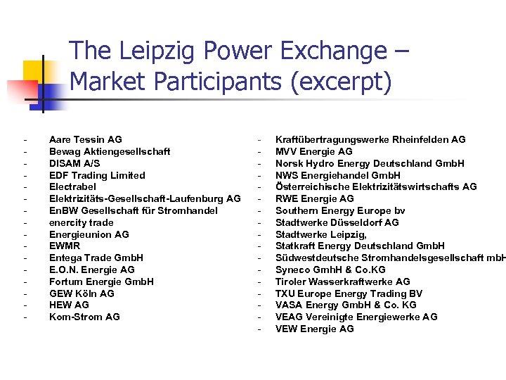 The Leipzig Power Exchange – Market Participants (excerpt) - Aare Tessin AG Bewag Aktiengesellschaft