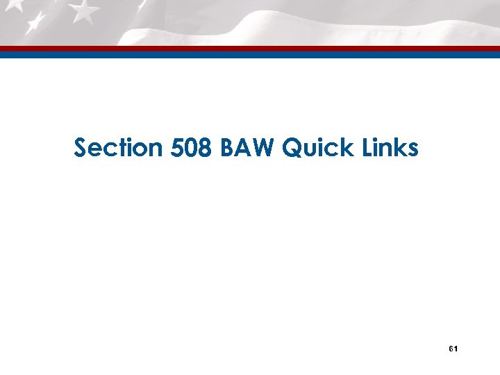 Section 508 BAW Quick Links 61
