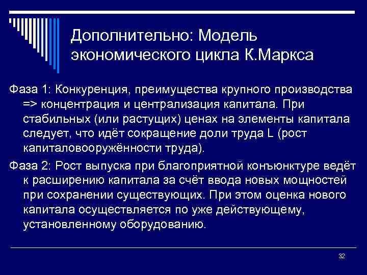 Дополнительно: Модель экономического цикла К. Маркса Фаза 1: Конкуренция, преимущества крупного производства => концентрация