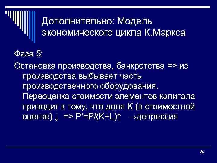 Дополнительно: Модель экономического цикла К. Маркса Фаза 5: Остановка производства, банкротства => из производства