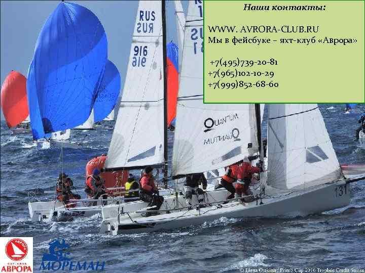 Наши контакты: WWW. AVRORA-CLUB. RU Мы в фейсбуке – яхт-клуб «Аврора» +7(495)739 -20 -81